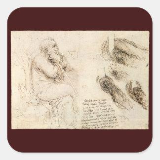 Old Man and Water Sketch by Leonardo da Vinci Square Sticker