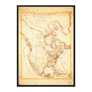 Old Map of North America (1815) Canvas Print