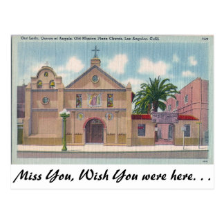 Old Mission Plaza, Los Angeles, California Postcard