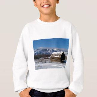 Old mountain farm in winter sweatshirt