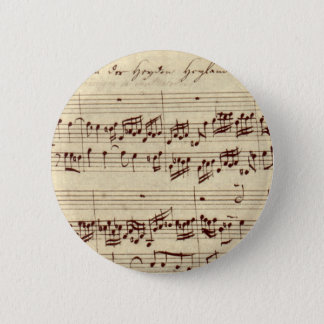 Old Music Notes - Bach Music Sheet 6 Cm Round Badge