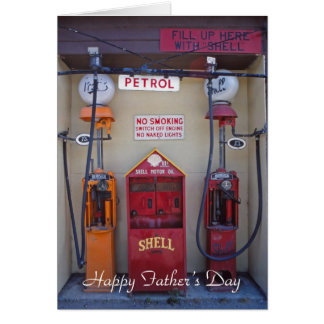 Old petrol pumps father's day card