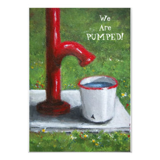 Old Pump: We Are Pumped: Party Invitation