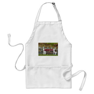 Old red bench aprons
