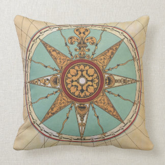 Old Renaissance windrose compass rose map pillow Throw Cushion