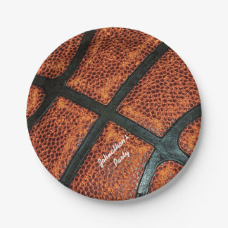 Old Retro Basketball Pattern With Name 7 Inch Paper Plate