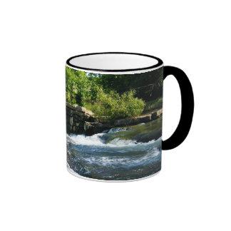 Old Rock Dam and Waterfall Ringer Mug