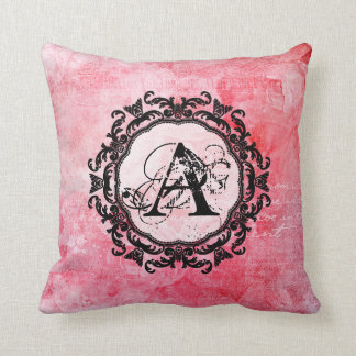 Old Rose Flower Pattern Damask Ornament Letter Cushion