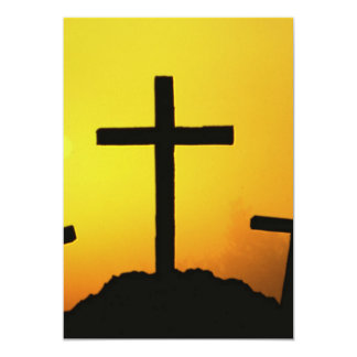 Old Rugged Wooden Cross on Calvary Hill at Sunset 13 Cm X 18 Cm Invitation Card