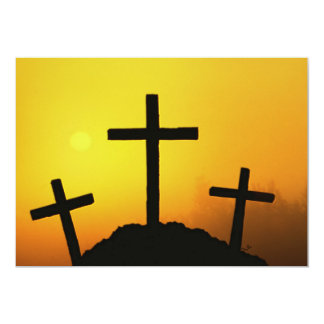 "Old Rugged Wooden Cross on Calvary Hill at Sunset 5"" X 7"" Invitation Card"