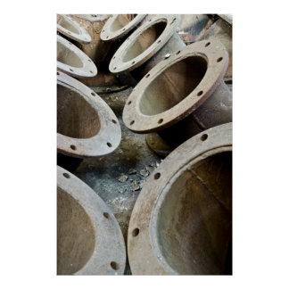 Old rusty metal pipes print