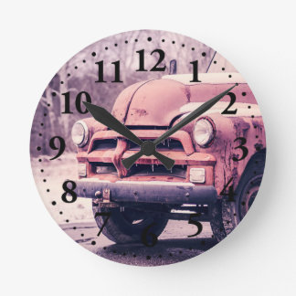 Old rusty truck round clock