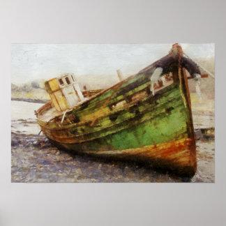 Old Salt, fishing boat run aground print