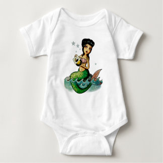 Old School Reggae Mermaid Baby Bodysuit
