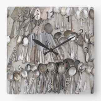 Old Silverware Square Wall Clock