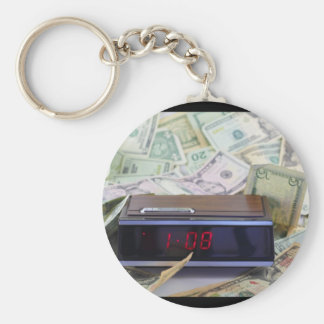 Old Time and Money Basic Round Button Key Ring