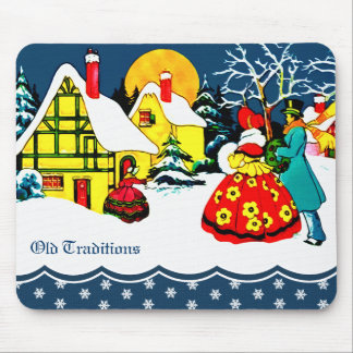 Old Traditions. Vintage Style Christmas Mousepad
