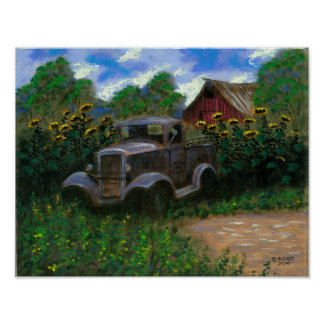 Old Truck with Sunflowers Poster