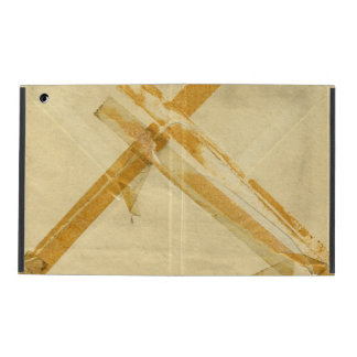 Old used envelope and sticky tape iPad folio case