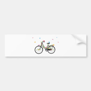 Old vintage bicycle with flowers and birds bumper sticker