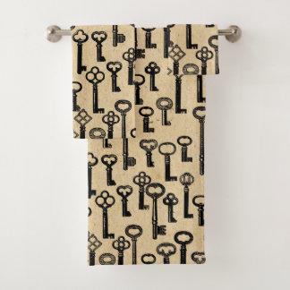 Old Vintage Keys Pattern Bath Towel Set