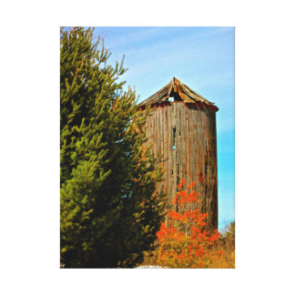 Old Weathered Wood Silo Wrapped Canvas Gallery Wrapped Canvas