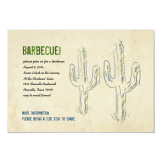 "Old West Cactus Party Invitation 3.5"" X 5"" Invitation Card"
