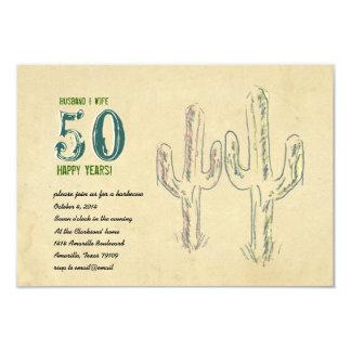 Old West Cactus Wedding Anniversary 9 Cm X 13 Cm Invitation Card
