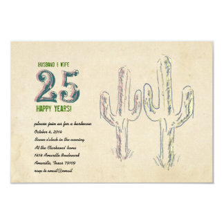 Old West Cactus Wedding Anniversary Card