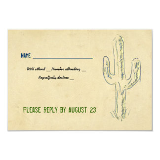 Old West Cactus Western RSVP 3.5x5 Paper Invitation Card