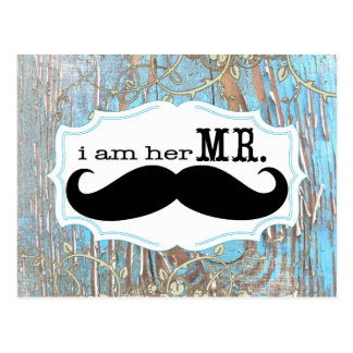 Old Wood Country Chic Swirly Vine I am Her Mr. Postcard