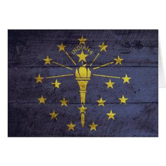 Old Wood Indiana Flag Card
