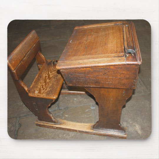 Old Wooden School Desk And Chair Mouse, Vintage Wooden School Desk And Chair
