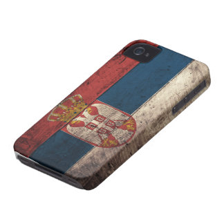 Old Wooden Serbia Flag iPhone 4 Case