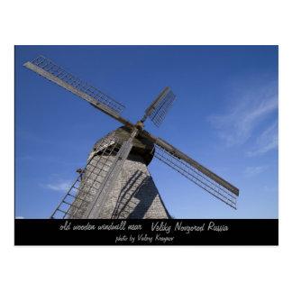 old wooden windmill postcard
