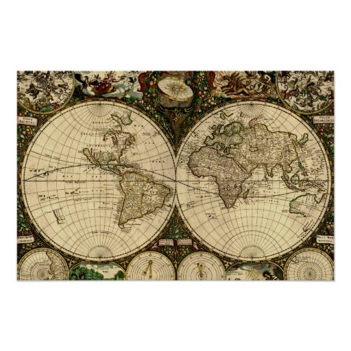 Old World Map Poster Zazzle