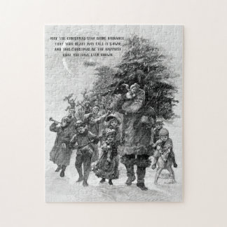 Old World Santa and Children Monochrome Jigsaw Puzzle