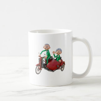 Older Couple on a Moped with Sidecar Coffee Mug