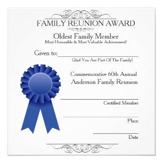 Oldest Member Elegant Family Reunion Awards Temp 13 Cm X 13 Cm Square Invitation Card