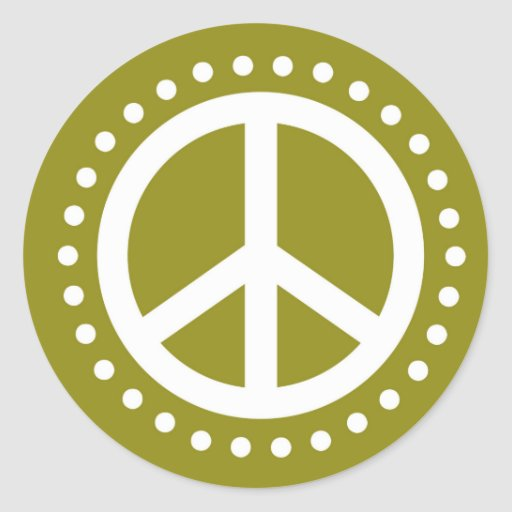 Olive Green and White Polka Dot Peace Sign Round Stickers