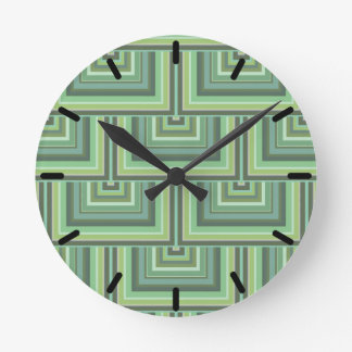 Olive green stripes square scales pattern round clock