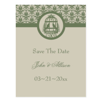 Olive Lovebird Cage Save The Date Postcard