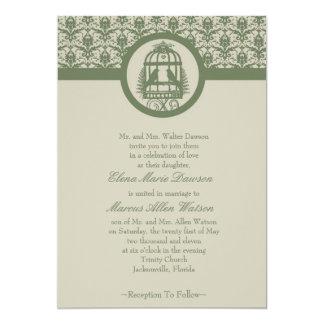 Olive Lovebird Cage Wedding Invitation