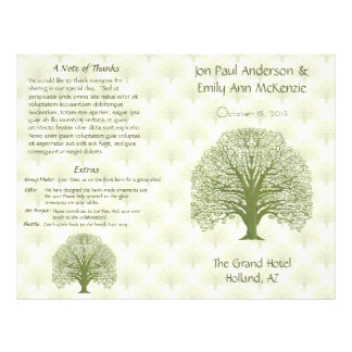 Olive Oak Wood Grain Tree Wedding Program 21.5 Cm X 28 Cm Flyer