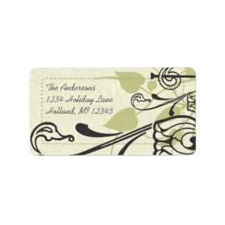 Olive Rose Swirl Whimsical Return Address Labels