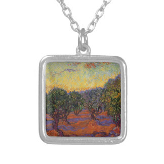 Olive Trees - Vincent Van Gogh Silver Plated Necklace