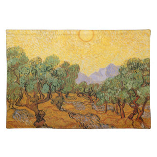 Olive Trees, Yellow Sky and Sun, Vincent van Gogh Placemat