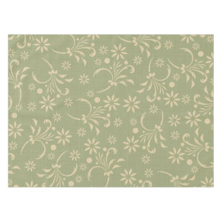 Olive with Tan Floral Tablecloth