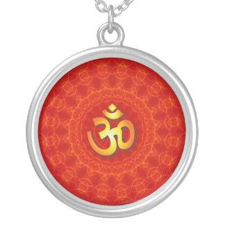 Om Mandala Design Silver Plated Necklace