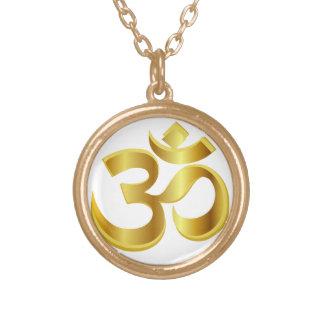 om, mantra om gold plated necklace